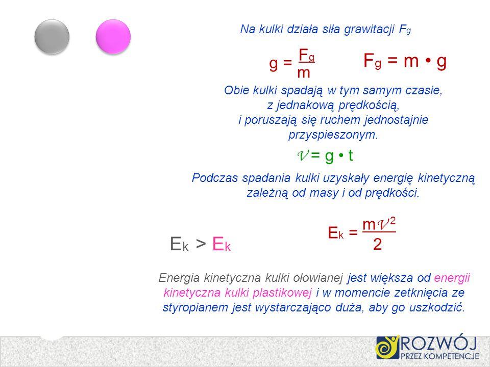 Na kulki działa siła grawitacji FgFg g = FgFg m F g = m g Podczas spadania kulki uzyskały energię kinetyczną zależną od masy i od prędkości. E k = m V