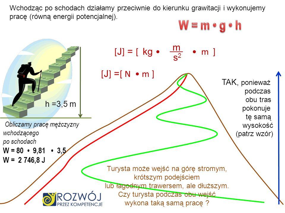 Wchodząc po schodach działamy przeciwnie do kierunku grawitacji i wykonujemy pracę (równą energii potencjalnej). h =3,5 m O bliczamy pracę mężczyzny w