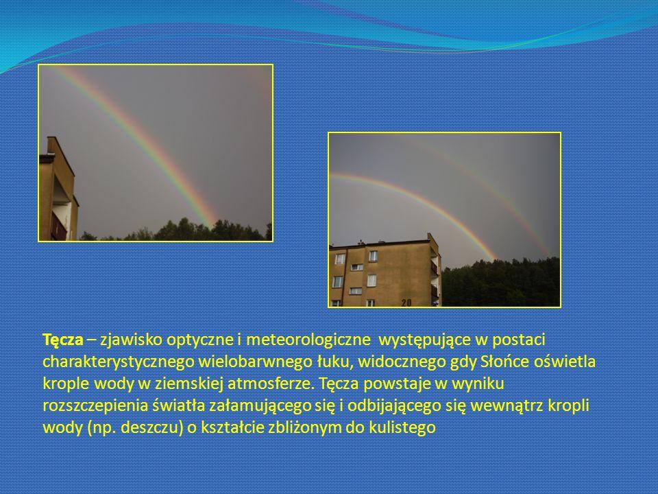 Tęcza – zjawisko optyczne i meteorologiczne występujące w postaci charakterystycznego wielobarwnego łuku, widocznego gdy Słońce oświetla krople wody w