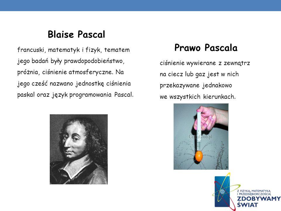 Blaise Pascal francuski, matematyk i fizyk, tematem jego badań były prawdopodobieństwo, próżnia, ciśnienie atmosferyczne. Na jego cześć nazwano jednos