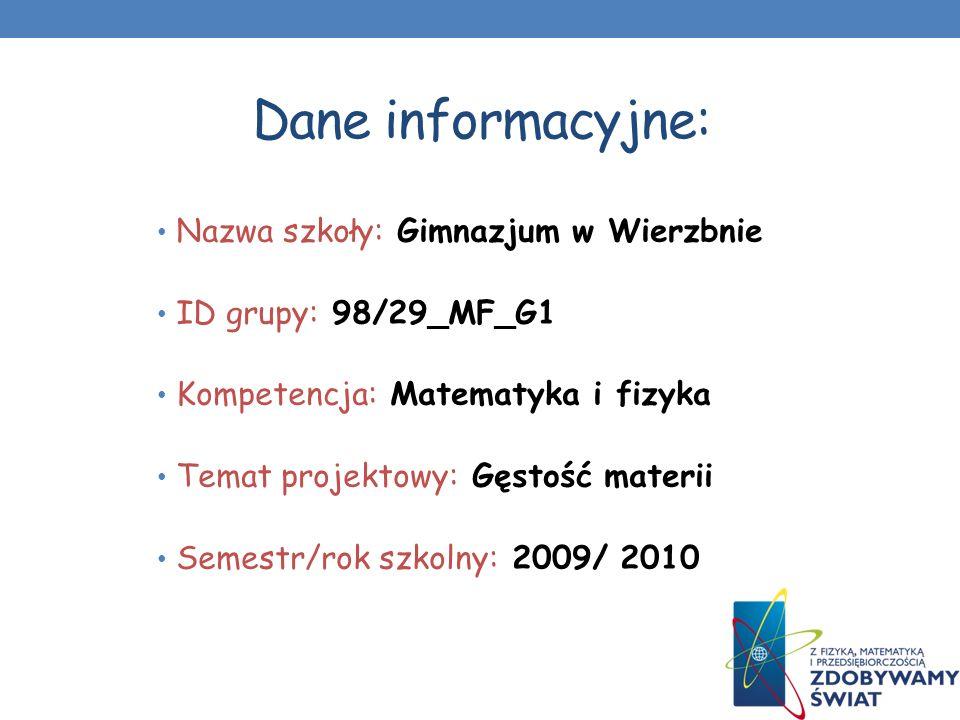 Dane informacyjne: Nazwa szkoły: Gimnazjum w Wierzbnie ID grupy: 98/29_MF_G1 Kompetencja: Matematyka i fizyka Temat projektowy: Gęstość materii Semest