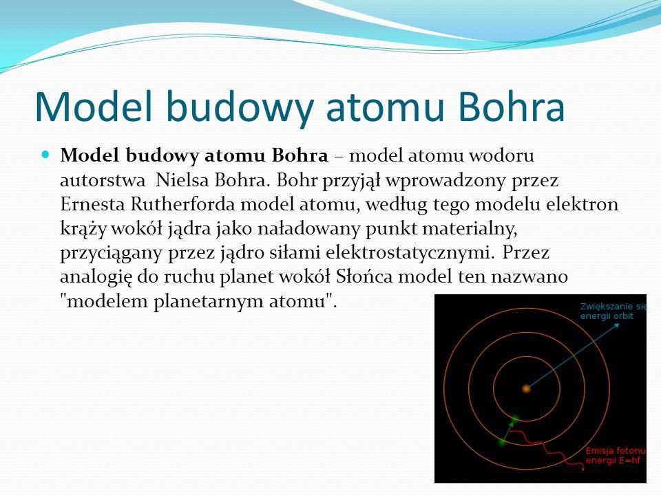 Model budowy atomu Bohra Model budowy atomu Bohra – model atomu wodoru autorstwa Nielsa Bohra. Bohr przyjął wprowadzony przez Ernesta Rutherforda mode