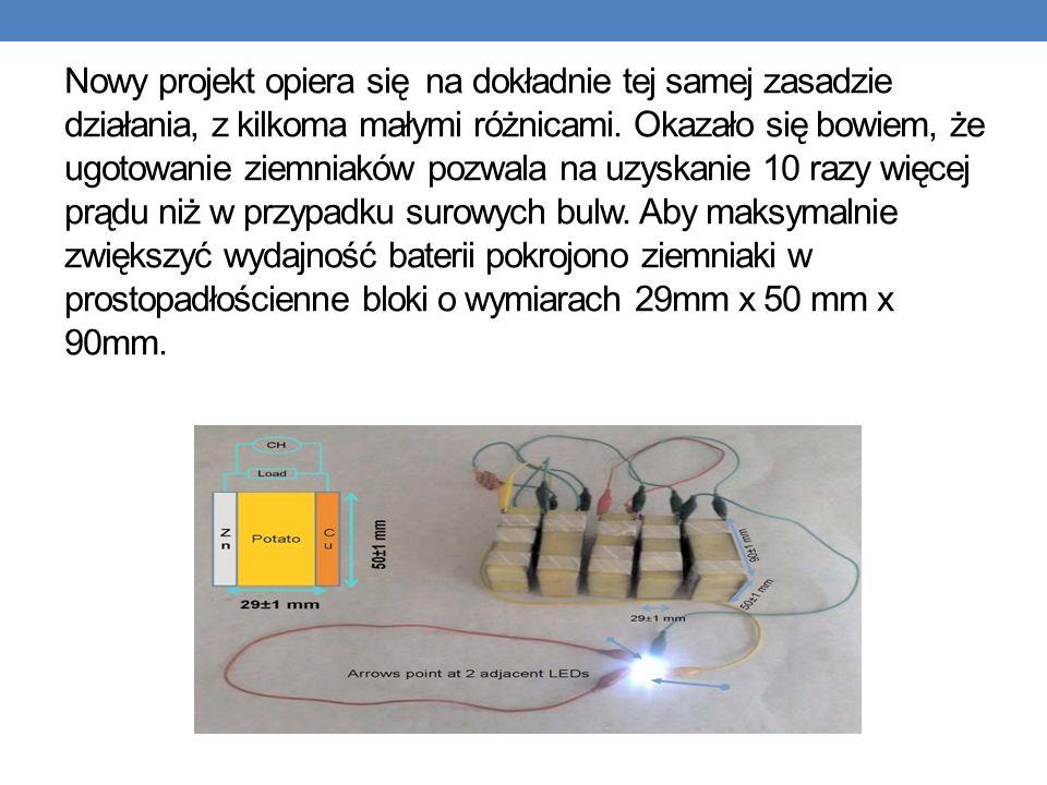 Nowy projekt opiera się na dokładnie tej samej zasadzie działania, z kilkoma małymi różnicami. Okazało się bowiem, że ugotowanie ziemniaków pozwala na