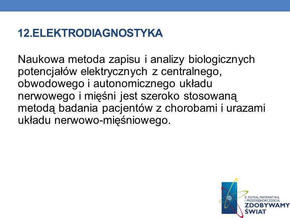 12.ELEKTRODIAGNOSTYKA Naukowa metoda zapisu i analizy biologicznych potencjałów elektrycznych z centralnego, obwodowego i autonomicznego układu nerwow