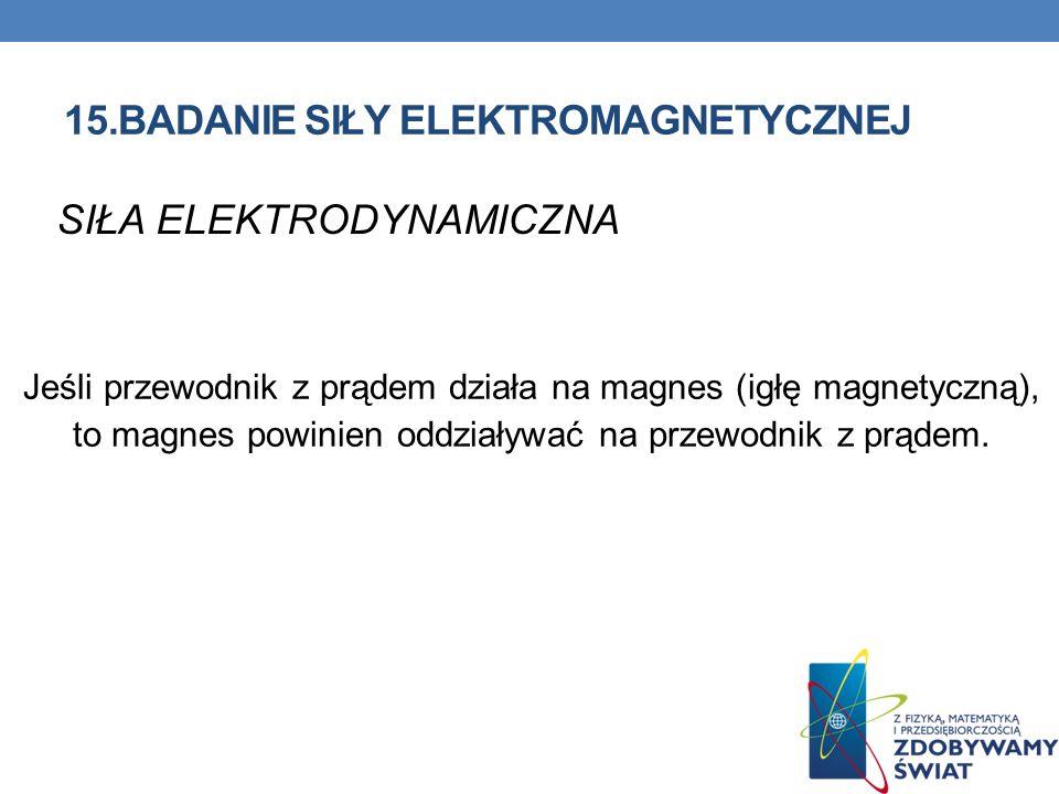 15.BADANIE SIŁY ELEKTROMAGNETYCZNEJ SIŁA ELEKTRODYNAMICZNA Jeśli przewodnik z prądem działa na magnes (igłę magnetyczną), to magnes powinien oddziaływ