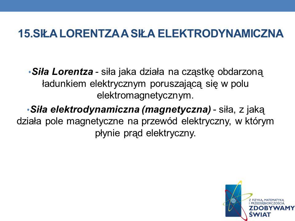 15.SIŁA LORENTZA A SIŁA ELEKTRODYNAMICZNA Siła Lorentza - siła jaka działa na cząstkę obdarzoną ładunkiem elektrycznym poruszającą się w polu elektrom