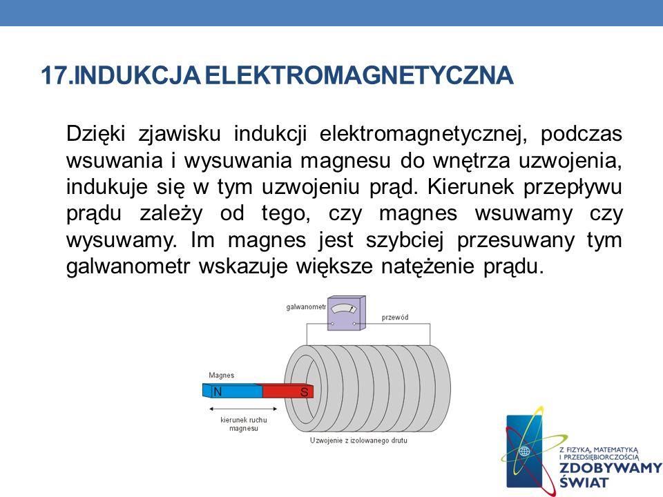 17.INDUKCJA ELEKTROMAGNETYCZNA Dzięki zjawisku indukcji elektromagnetycznej, podczas wsuwania i wysuwania magnesu do wnętrza uzwojenia, indukuje się w