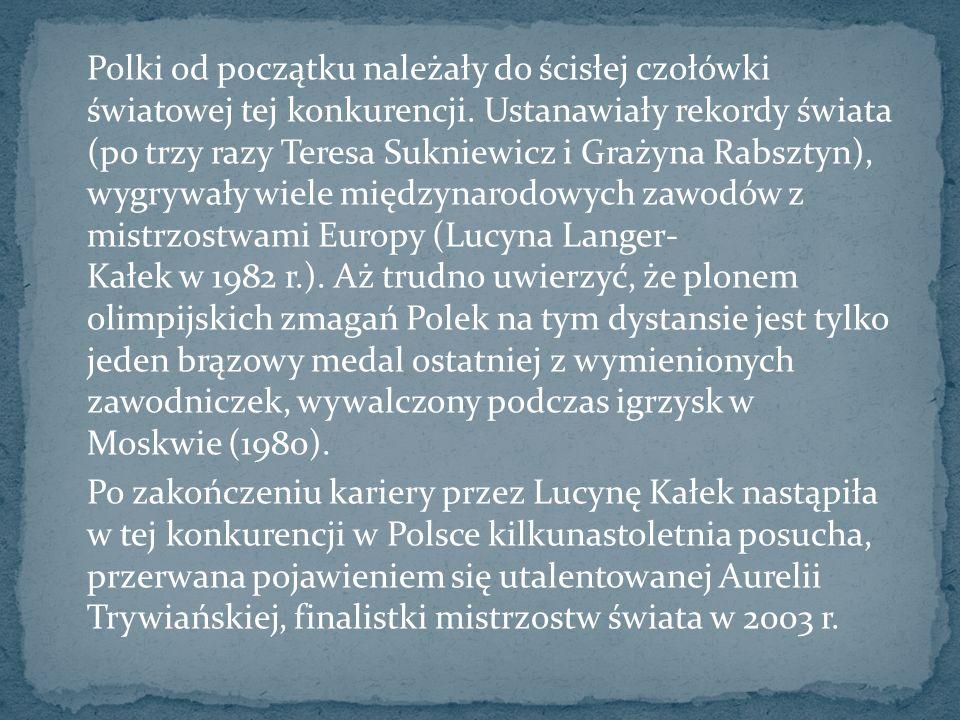 Polki od początku należały do ścisłej czołówki światowej tej konkurencji. Ustanawiały rekordy świata (po trzy razy Teresa Sukniewicz i Grażyna Rabszty