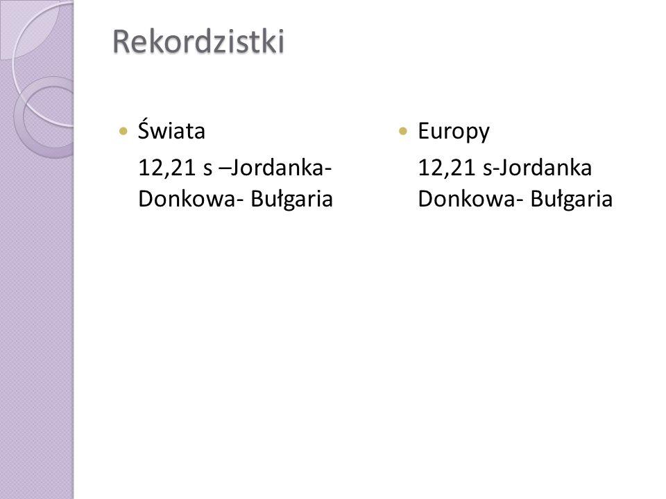 Rekordzistki Świata 12,21 s –Jordanka- Donkowa- Bułgaria Europy 12,21 s-Jordanka Donkowa- Bułgaria