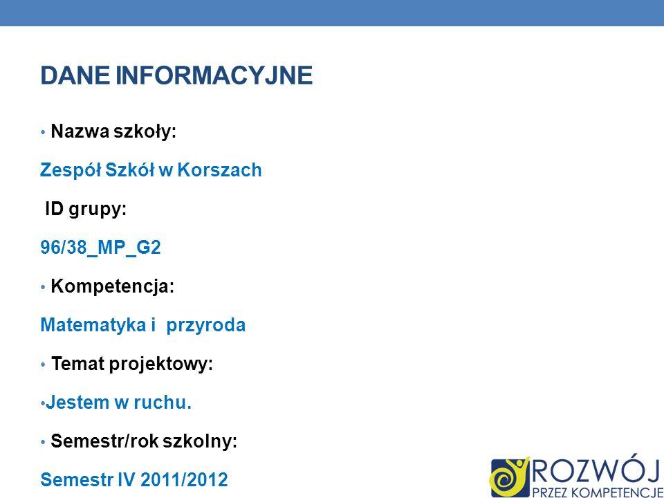 DANE INFORMACYJNE Nazwa szkoły: Zespół Szkół w Korszach ID grupy: 96/38_MP_G2 Kompetencja: Matematyka i przyroda Temat projektowy: Jestem w ruchu. Sem