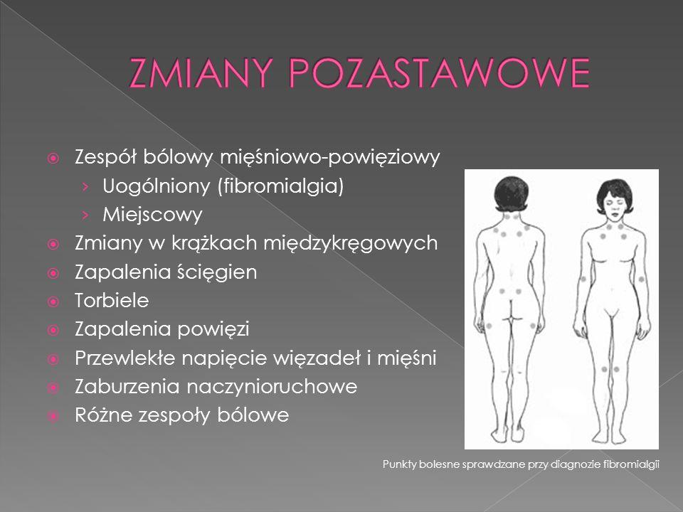 Zespół bólowy mięśniowo-powięziowy Uogólniony (fibromialgia) Miejscowy Zmiany w krążkach międzykręgowych Zapalenia ścięgien Torbiele Zapalenia powięzi