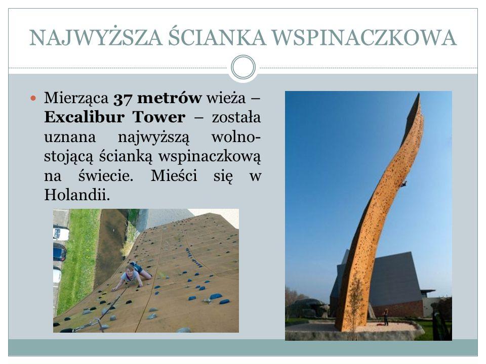 NAJWYŻSZA ŚCIANKA WSPINACZKOWA Mierząca 37 metrów wieża – Excalibur Tower – została uznana najwyższą wolno- stojącą ścianką wspinaczkową na świecie. M