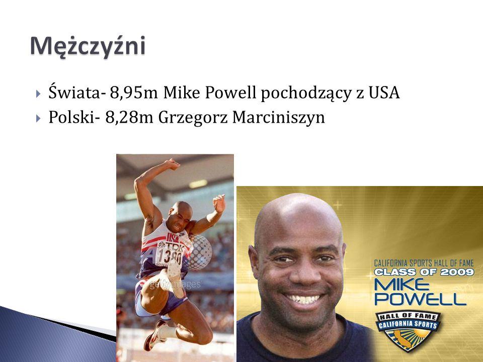 Świata- 8,95m Mike Powell pochodzący z USA Polski- 8,28m Grzegorz Marciniszyn