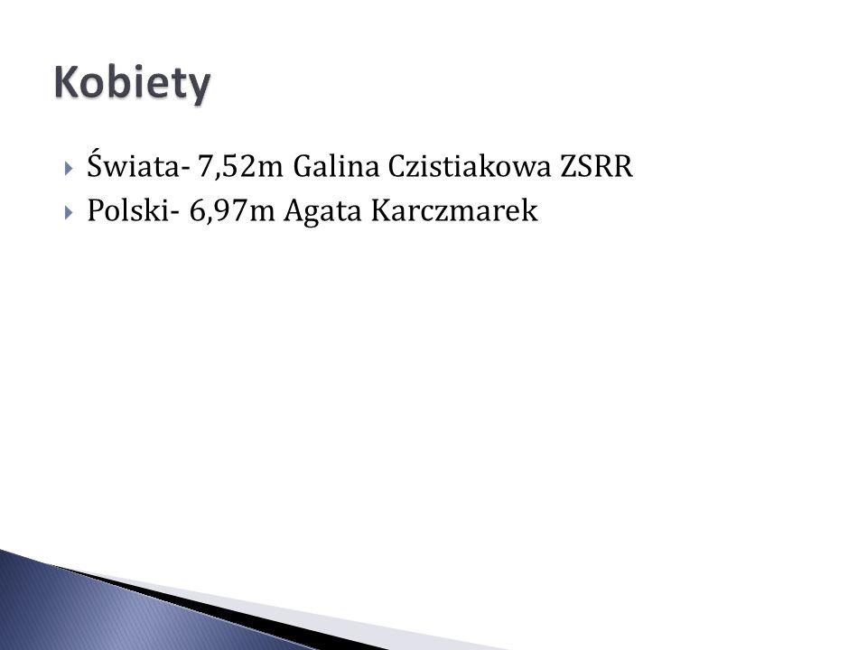 Świata- 7,52m Galina Czistiakowa ZSRR Polski- 6,97m Agata Karczmarek