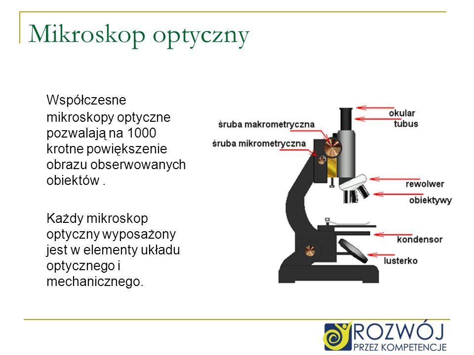 Mikroskop optyczny Współczesne mikroskopy optyczne pozwalają na 1000 krotne powiększenie obrazu obserwowanych obiektów. Każdy mikroskop optyczny wypos