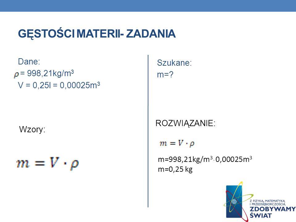 GĘSTOŚĆ MATERII- ZADANIA ZADANIE 1 Szklanka o pojemności 0,25l została napełniona wodą o temp.