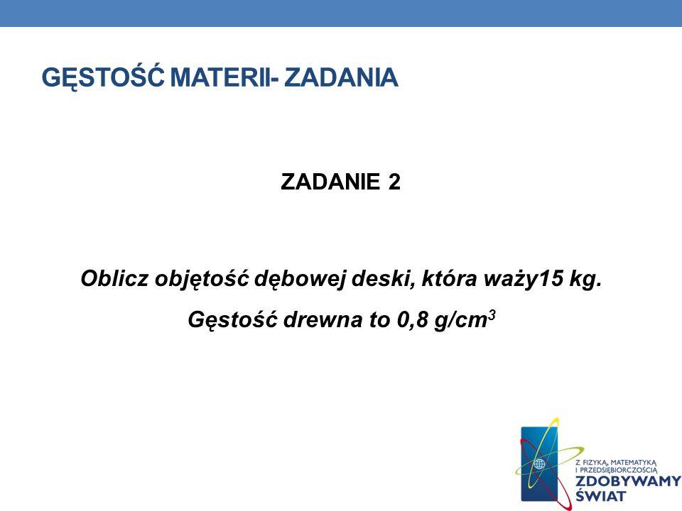 GĘSTOŚCI MATERII- ZADANIA Dane: = 998,21kg/m 3 V = 0,25l = 0,00025m 3 Wzory: Szukane: m=.