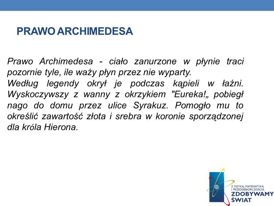 PLAN PREZENTACJI 1.Prawo Archimedesa 2. Historia króla Syrakuz Hierona 3.