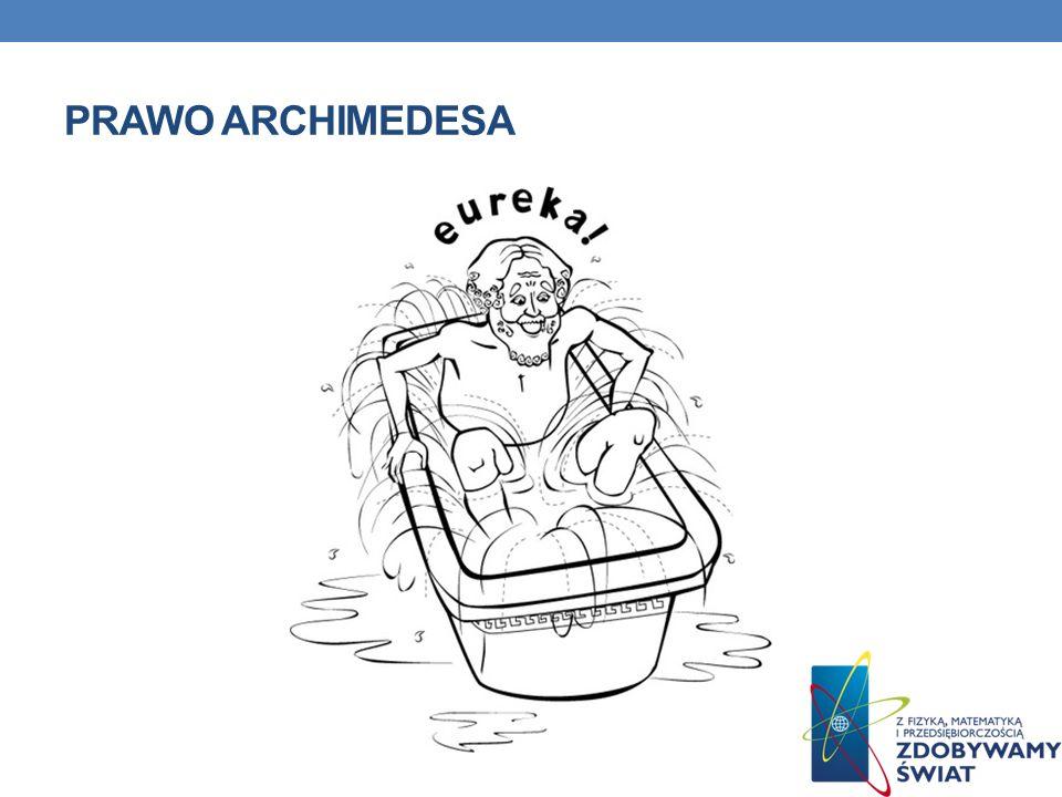 PRAWO ARCHIMEDESA Prawo Archimedesa - ciało zanurzone w płynie traci pozornie tyle, ile waży płyn przez nie wyparty.
