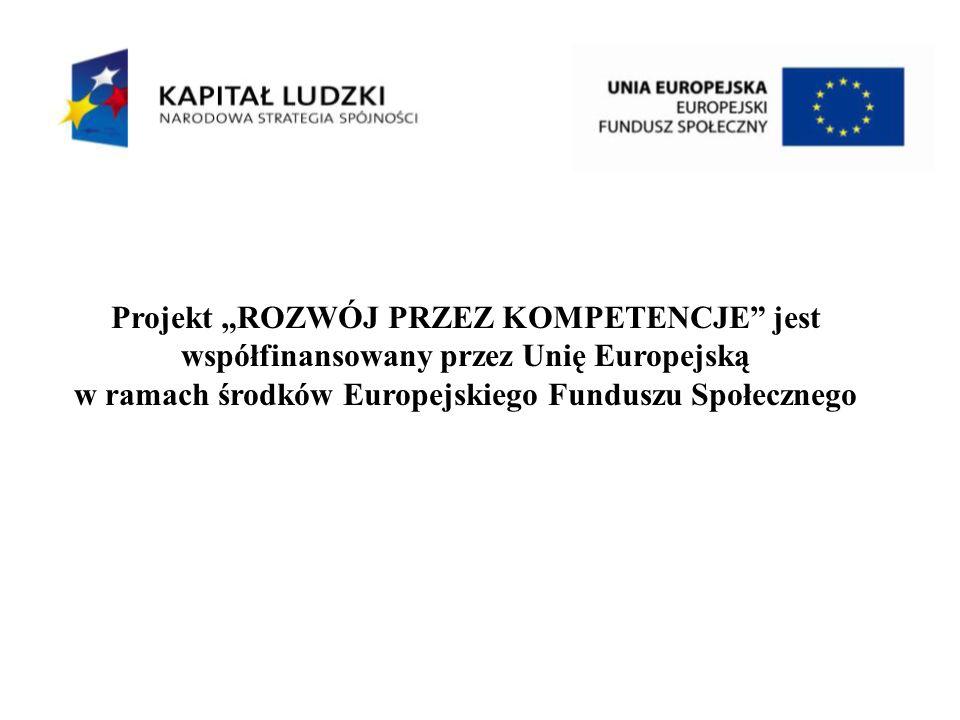 Projekt ROZWÓJ PRZEZ KOMPETENCJE jest współfinansowany przez Unię Europejską w ramach środków Europejskiego Funduszu Społecznego