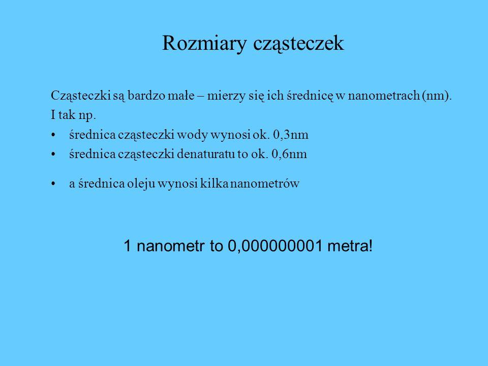 Rozmiary cząsteczek Cząsteczki są bardzo małe – mierzy się ich średnicę w nanometrach (nm). I tak np. średnica cząsteczki wody wynosi ok. 0,3nm średni