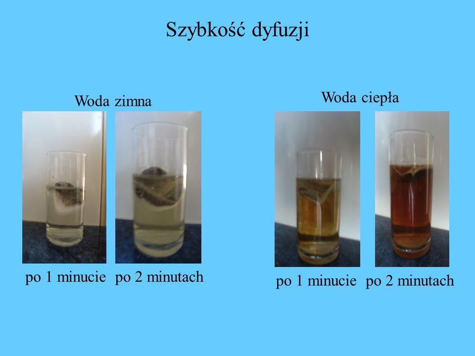 Szybkość dyfuzji Woda ciepła Woda zimna po 1 minucie po 2 minutach