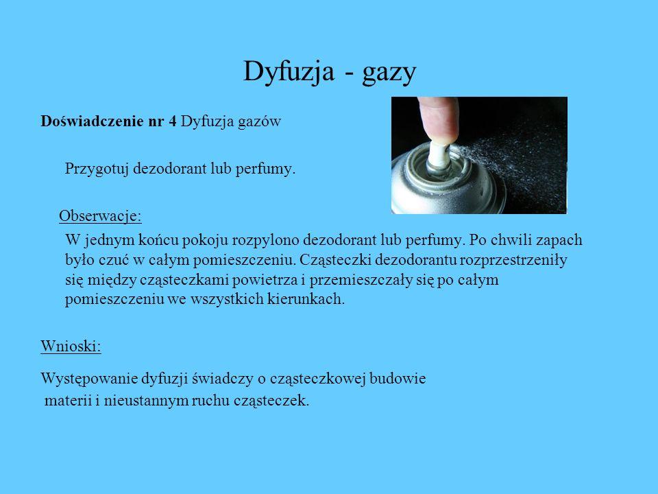 Dyfuzja - gazy Doświadczenie nr 4 Dyfuzja gazów Przygotuj dezodorant lub perfumy. Obserwacje: W jednym końcu pokoju rozpylono dezodorant lub perfumy.