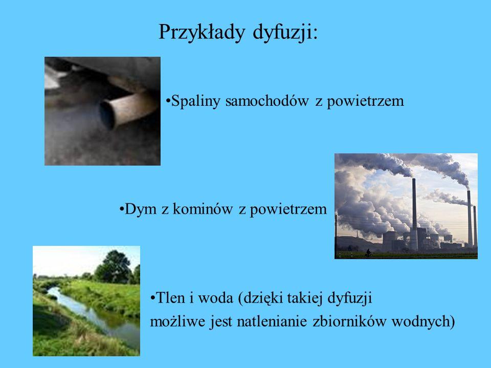 Przykłady dyfuzji: Spaliny samochodów z powietrzem Dym z kominów z powietrzem Tlen i woda (dzięki takiej dyfuzji możliwe jest natlenianie zbiorników wodnych)
