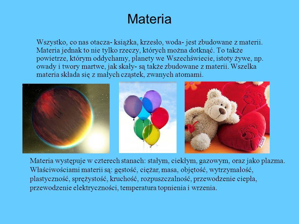 Materia Wszystko, co nas otacza- książka, krzesło, woda- jest zbudowane z materii. Materia jednak to nie tylko rzeczy, których można dotknąć. To także