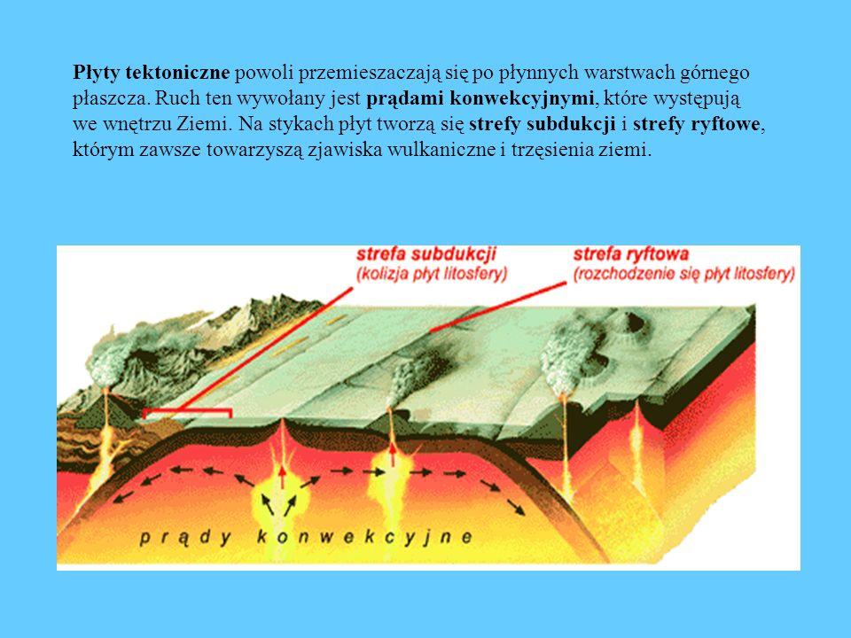 Płyty tektoniczne powoli przemieszaczają się po płynnych warstwach górnego płaszcza. Ruch ten wywołany jest prądami konwekcyjnymi, które występują we