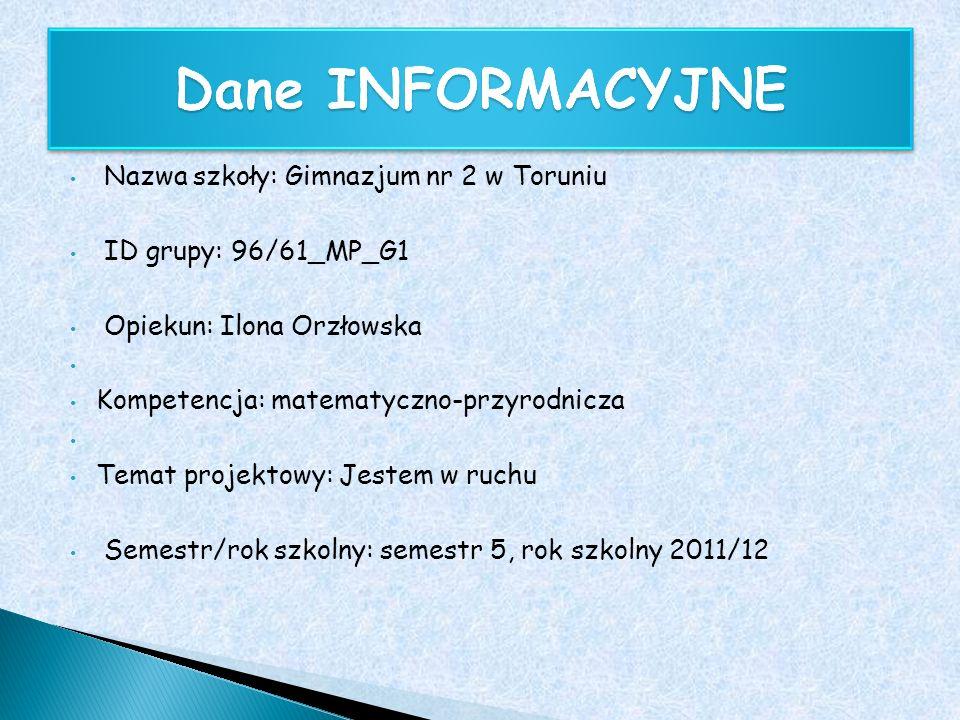 Nazwa szkoły: Gimnazjum nr 2 w Toruniu ID grupy: 96/61_MP_G1 Opiekun: Ilona Orzłowska Kompetencja: matematyczno-przyrodnicza Temat projektowy: Jestem