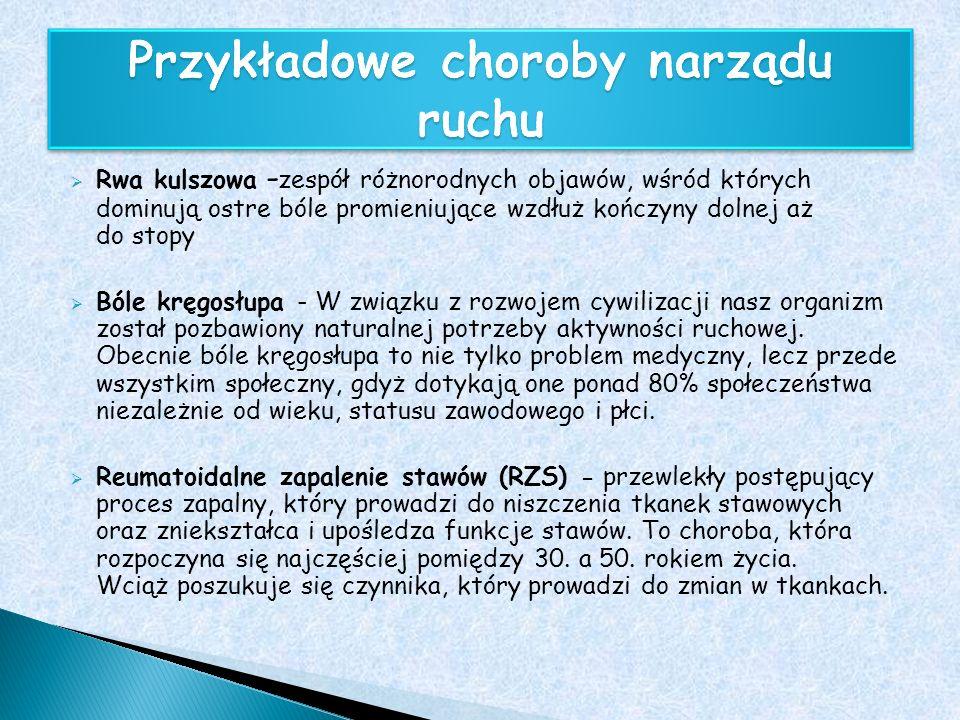 Rwa kulszowa - zespół różnorodnych objawów, wśród których dominują ostre bóle promieniujące wzdłuż kończyny dolnej aż do stopy Bóle kręgosłupa - W zwi