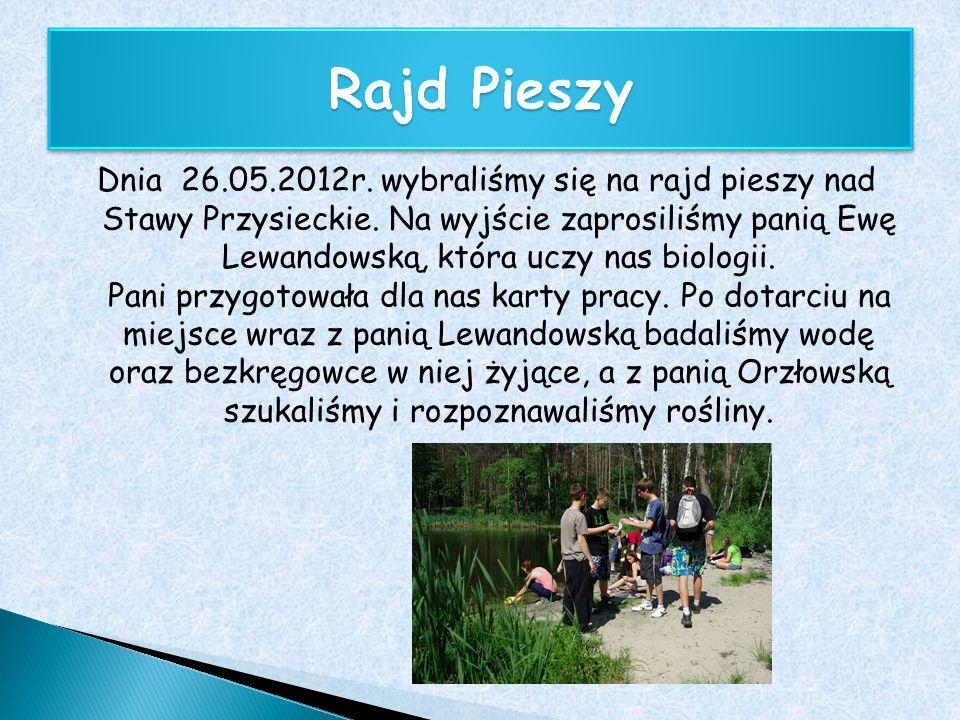 Dnia 26.05.2012r. wybraliśmy się na rajd pieszy nad Stawy Przysieckie. Na wyjście zaprosiliśmy panią Ewę Lewandowską, która uczy nas biologii. Pani pr