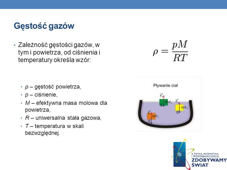 Gęstość gazów Zależność gęstości gazów, w tym i powietrza, od ciśnienia i temperatury określa wzór: ρ – gęstość powietrza, p – ciśnienie, M – efektywn