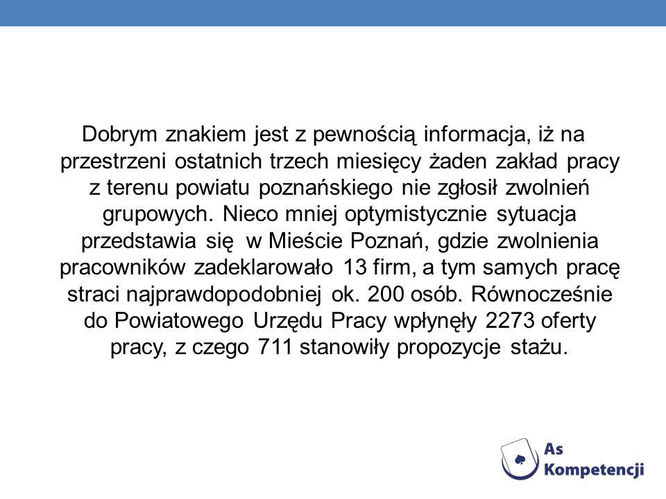 Dobrym znakiem jest z pewnością informacja, iż na przestrzeni ostatnich trzech miesięcy żaden zakład pracy z terenu powiatu poznańskiego nie zgłosił zwolnień grupowych.