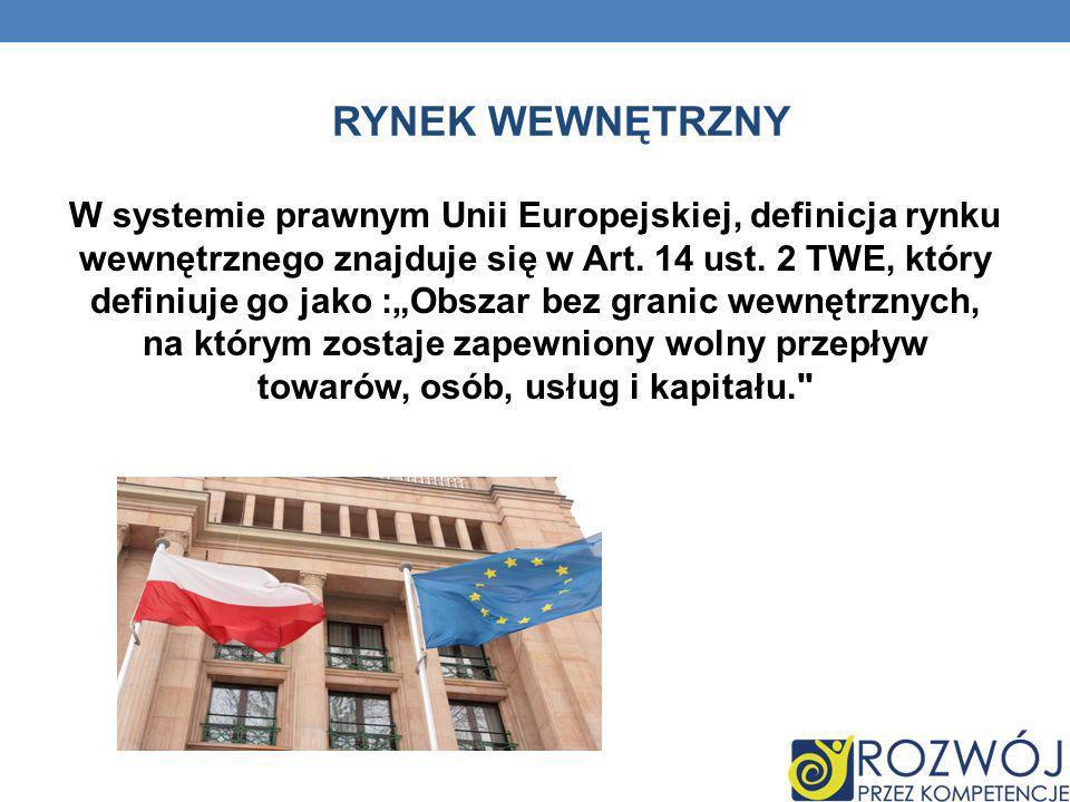 RYNEK WEWNĘTRZNY W systemie prawnym Unii Europejskiej, definicja rynku wewnętrznego znajduje się w Art. 14 ust. 2 TWE, który definiuje go jako :Obszar