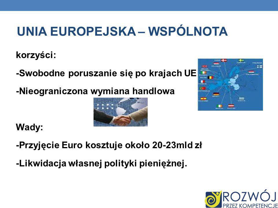 UNIA EUROPEJSKA – WSPÓLNOTA korzyści: -Swobodne poruszanie się po krajach UE -Nieograniczona wymiana handlowa Wady: -Przyjęcie Euro kosztuje około 20-