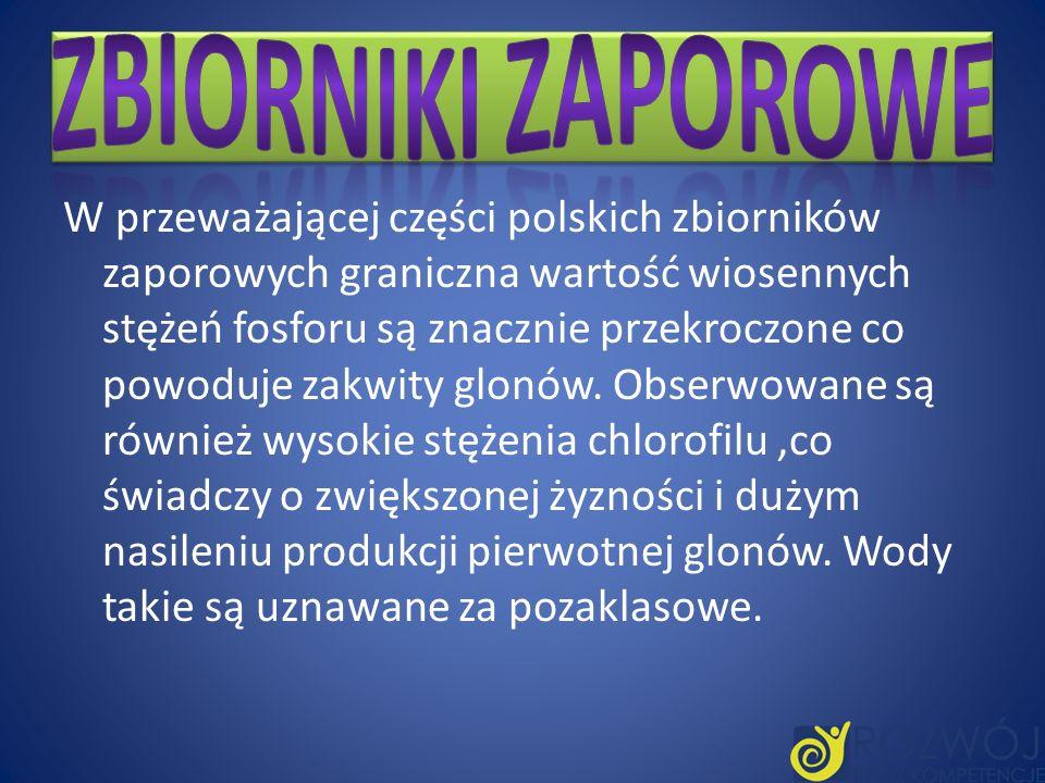 W przeważającej części polskich zbiorników zaporowych graniczna wartość wiosennych stężeń fosforu są znacznie przekroczone co powoduje zakwity glonów.