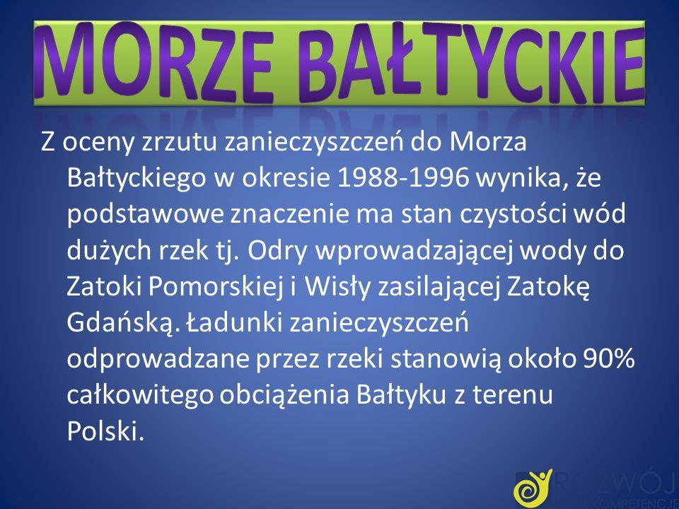 Z oceny zrzutu zanieczyszczeń do Morza Bałtyckiego w okresie 1988-1996 wynika, że podstawowe znaczenie ma stan czystości wód dużych rzek tj. Odry wpro