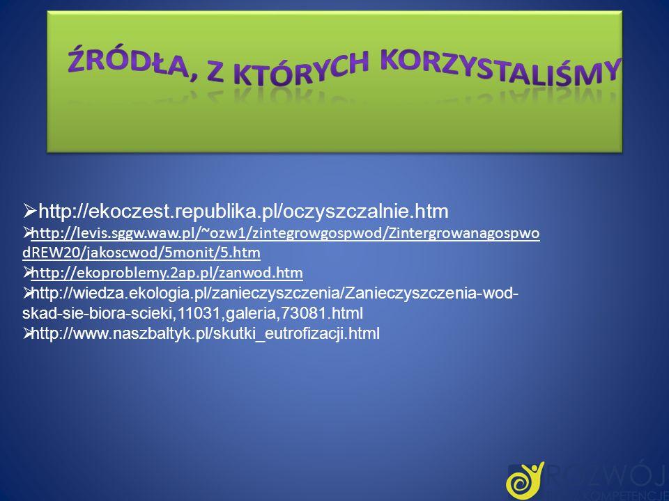 http://ekoczest.republika.pl/oczyszczalnie.htm http://levis.sggw.waw.pl/~ozw1/zintegrowgospwod/Zintergrowanagospwo dREW20/jakoscwod/5monit/5.htm http:
