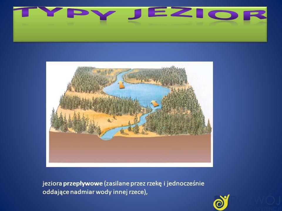 jeziora przepływowe (zasilane przez rzekę i jednocześnie oddające nadmiar wody innej rzece),