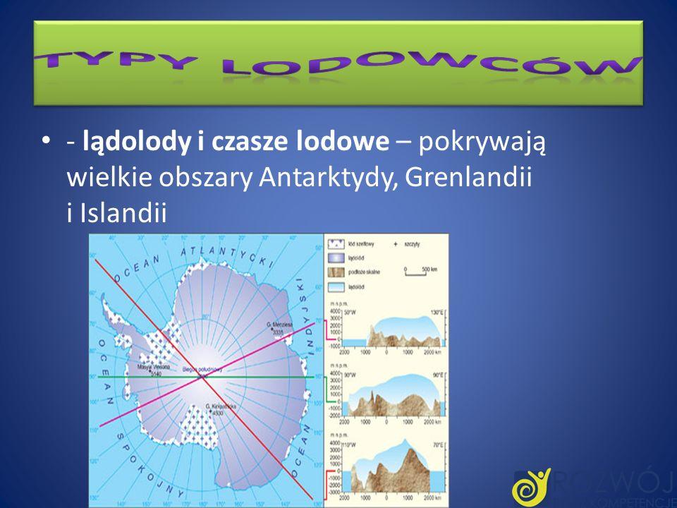 - lądolody i czasze lodowe – pokrywają wielkie obszary Antarktydy, Grenlandii i Islandii