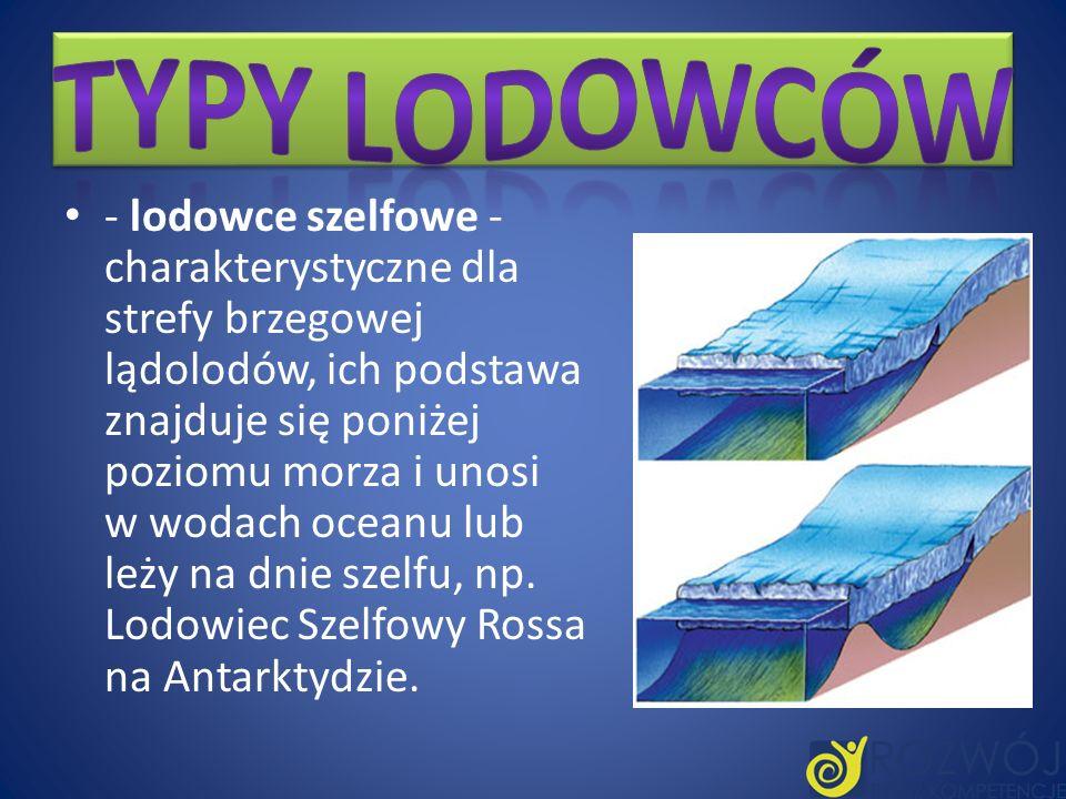 - lodowce szelfowe - charakterystyczne dla strefy brzegowej lądolodów, ich podstawa znajduje się poniżej poziomu morza i unosi w wodach oceanu lub leż