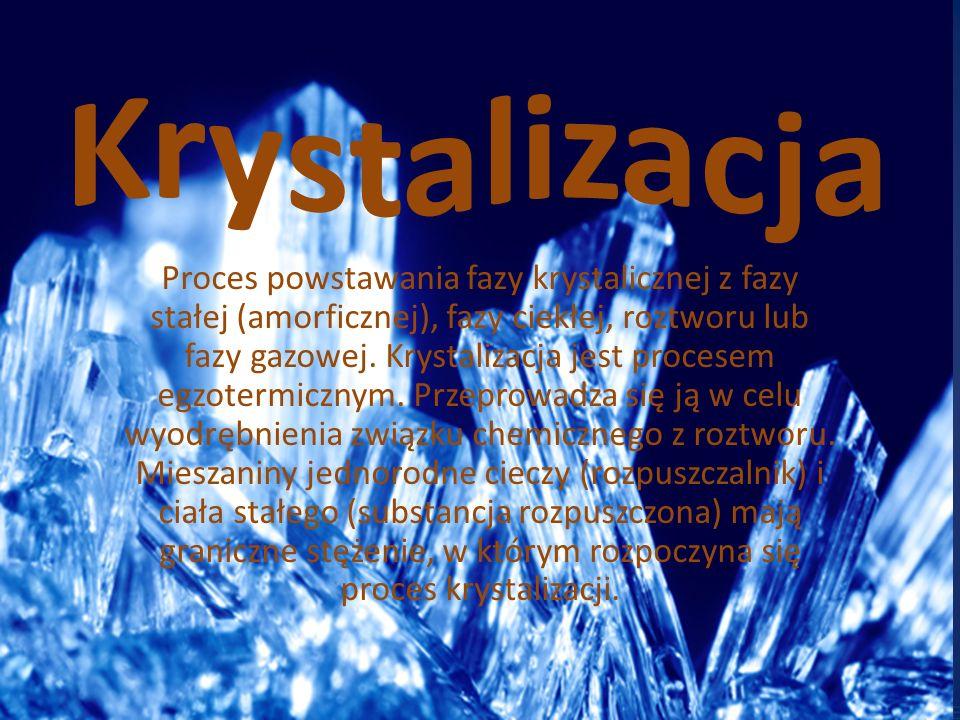 Proces powstawania fazy krystalicznej z fazy stałej (amorficznej), fazy ciekłej, roztworu lub fazy gazowej. Krystalizacja jest procesem egzotermicznym