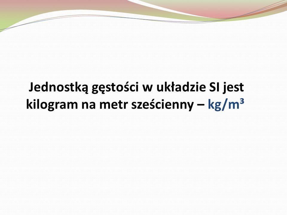 Inne jednostki to m.in. kilogram na litr – kg/l, oraz gram na centymetr sześcienny – g/cm³