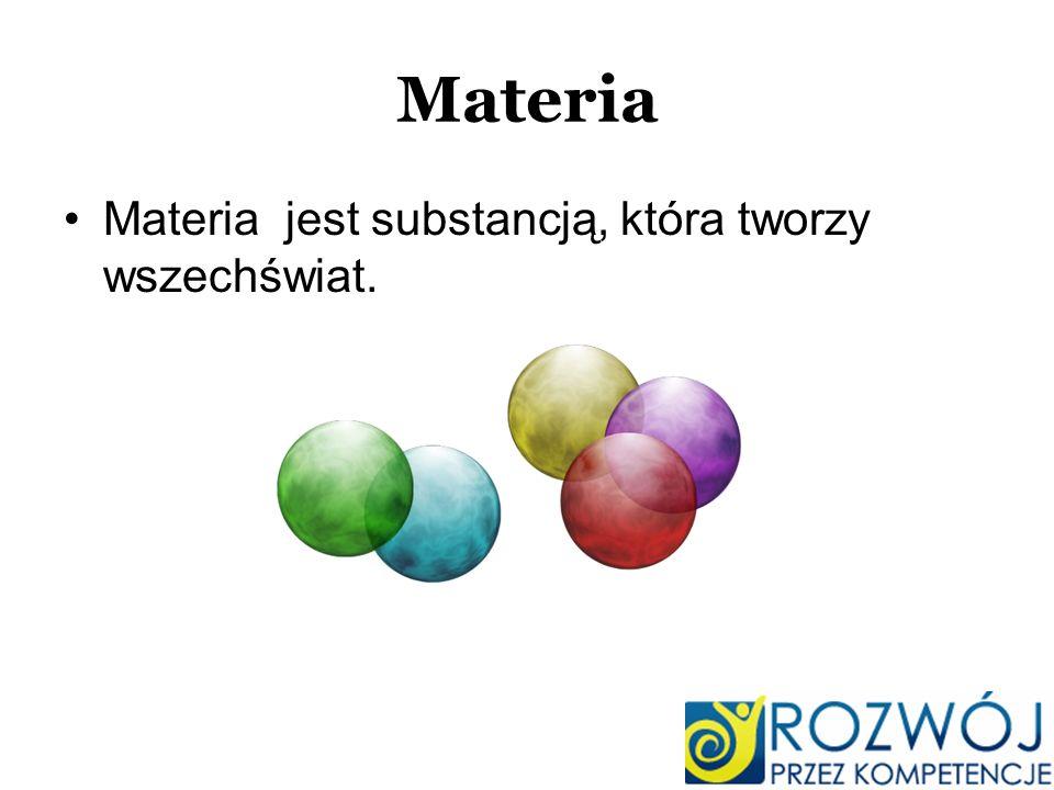 Materia Materia jest substancją, która tworzy wszechświat.