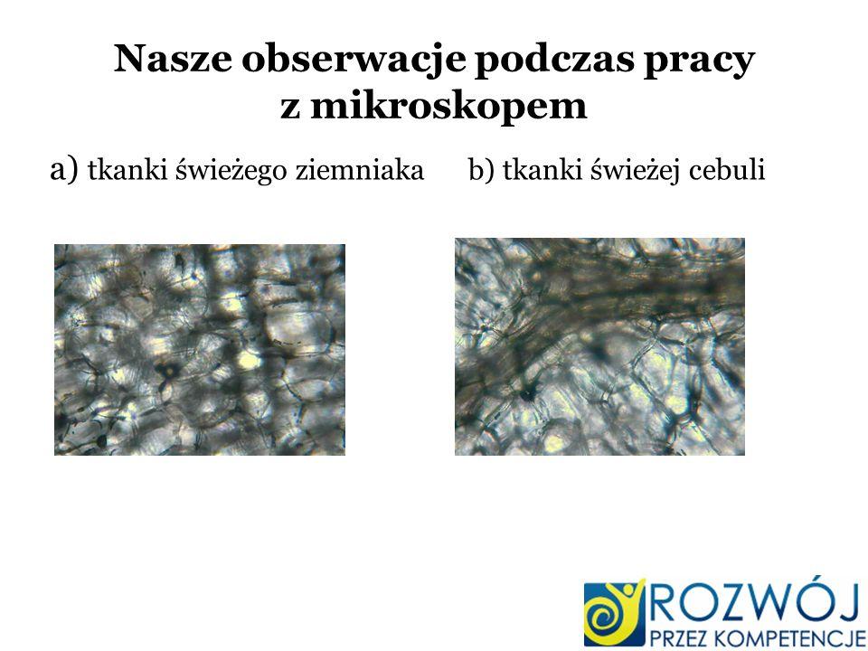 Nasze obserwacje podczas pracy z mikroskopem a) tkanki świeżego ziemniaka b) tkanki świeżej cebuli
