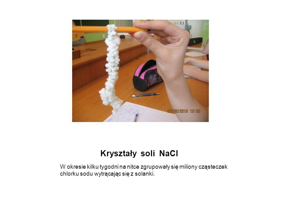 Kryształy soli NaCl W okresie kilku tygodni na nitce zgrupowały się miliony cząsteczek chlorku sodu wytrącając się z solanki.