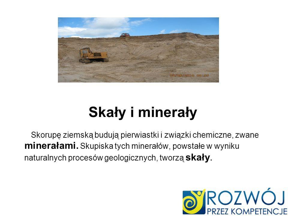 Skały i minerały Skorupę ziemską budują pierwiastki i związki chemiczne, zwane minerałami. Skupiska tych minerałów, powstałe w wyniku naturalnych proc