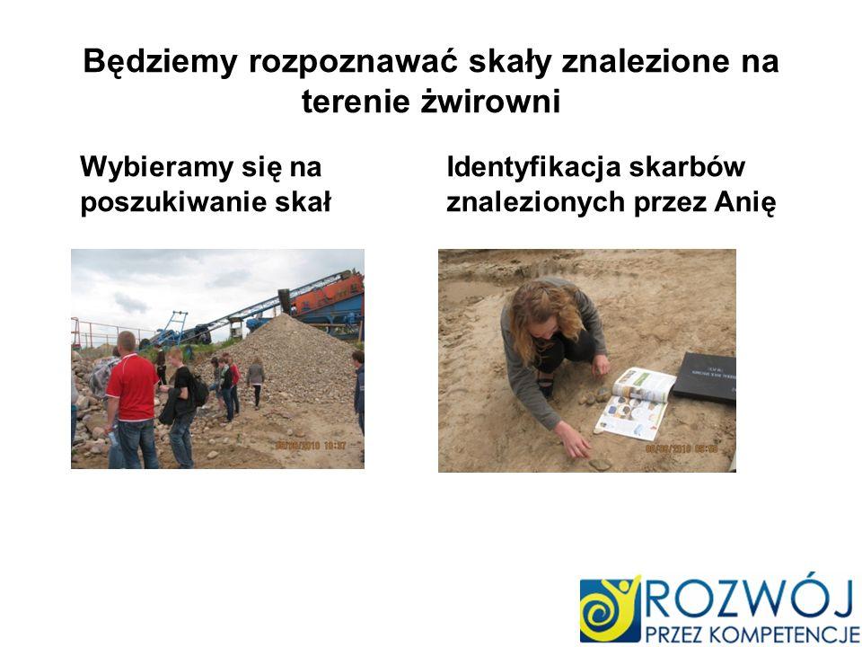 Będziemy rozpoznawać skały znalezione na terenie żwirowni Wybieramy się na poszukiwanie skał Identyfikacja skarbów znalezionych przez Anię